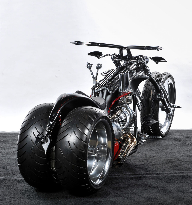 bad ass chopper wheel badass motorcycles build wheeled dog four choppers bike evil engine wife