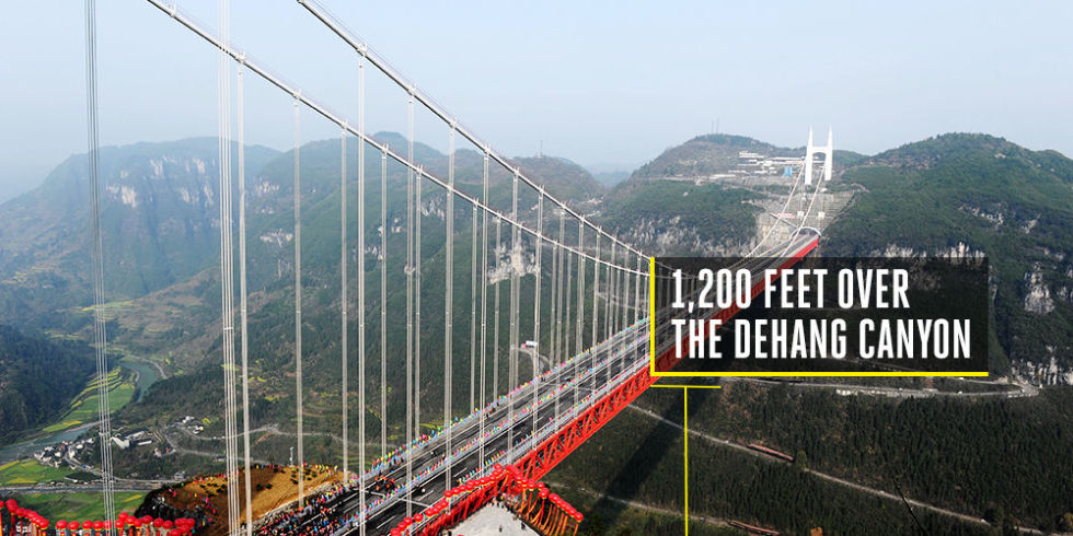 Time to build: 5 yearsCost to build: $600 millionThe world's highest bridge, connecting two tunnels in China, is also one of the world's longest suspension bridges. Opened in 2012, the bridge sits 1,200 feet over the Dehang Canyon and spans a tower-to-tower distance of 3,858 feet. The mountains on either side anchor the suspension towers.