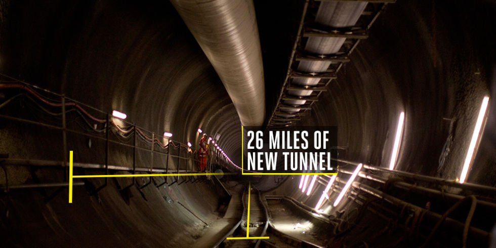 Time to build: 11 yearsCost to build: $23 billionLondon continues to grow underground. Eight tunneling machines recently wrapped up 26 new miles of tunnel for new subway track that will connect 40 stations—including 10 completely new ones—to improve transportation in England's largest city.