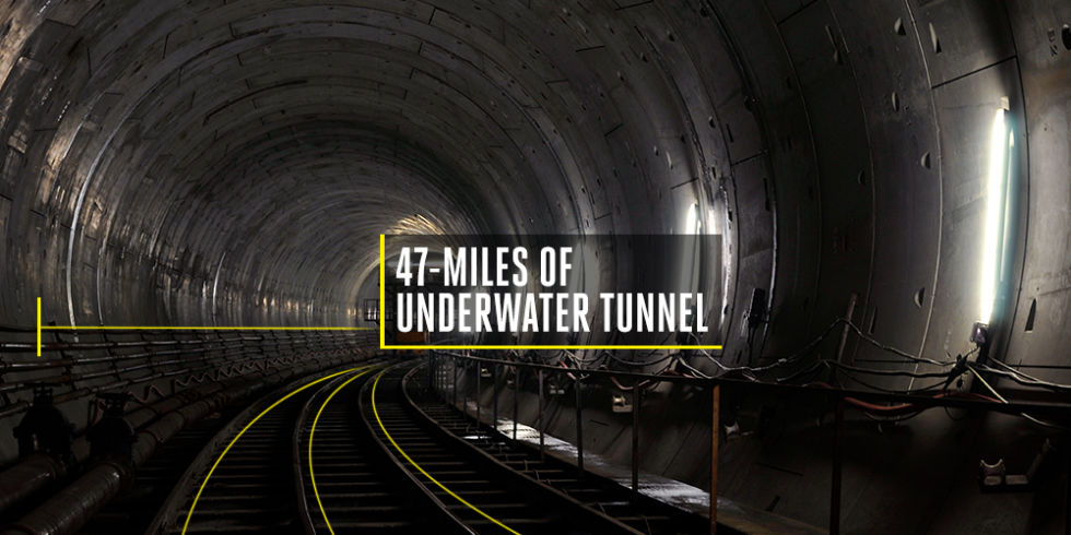 Time to build: 9 yearsCost to build: $4.5 billionIt took nine years and $4.5 billion to build, but the 47-mile underwater railway tunnel connects the European and Asian sides of town, giving Istanbul a new rail line into and out of the city when it opened in 2013.