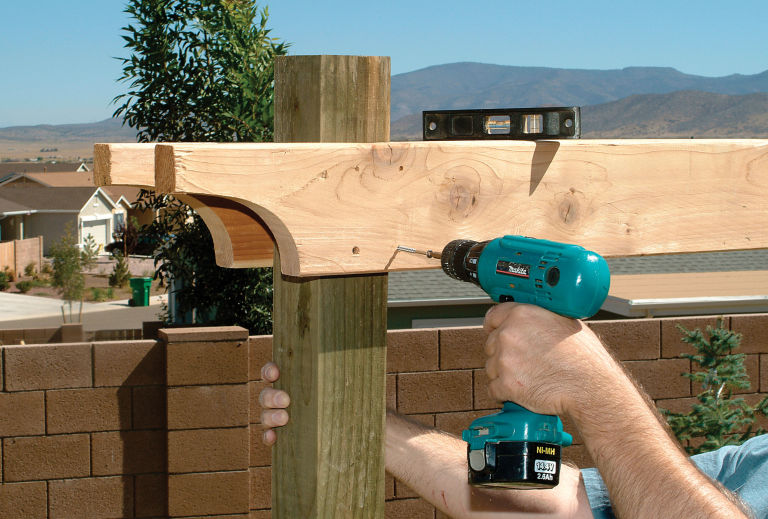 Attaching the Support Beams - How To Build A Pergola Step By Step - DIY Building A Pergola