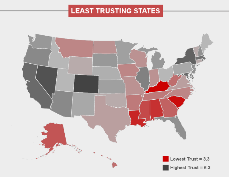 Map Shows Which US States Trust SelfDriving Cars And Which Dont - Driving map of us states