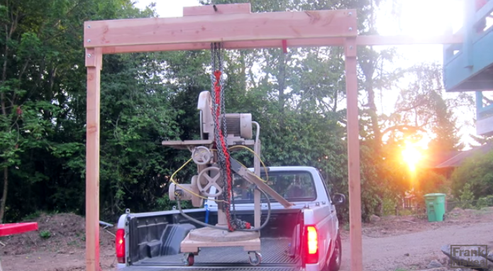 Build a wooden gantry crane to move your heaviest tools for Shop hoist plans