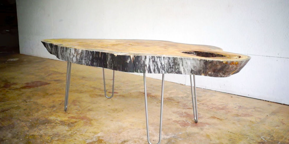 modern coffee table - Build A Live Edge Modern Coffee Table From A Slab Of Wood