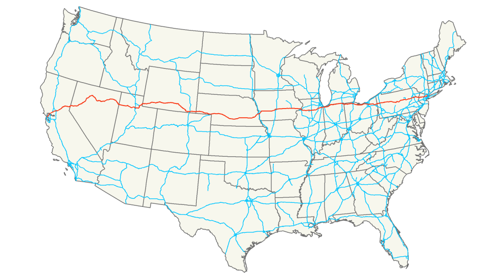 Of The Longest US Interstates - Us map ststes route 80