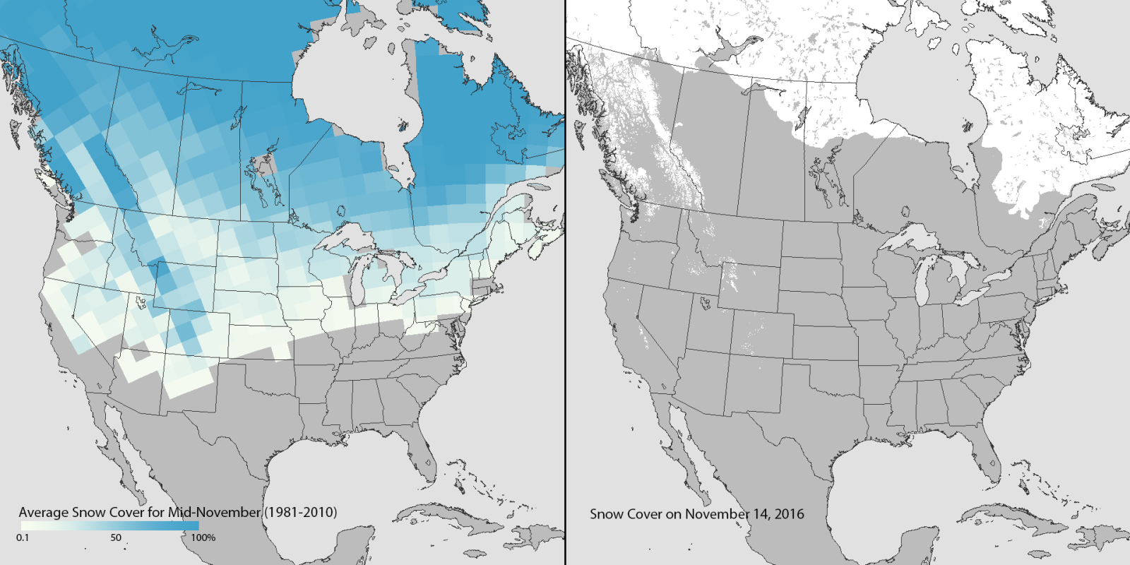 The US Just Set An AllTime Low For November Snow Cover - Snow map us