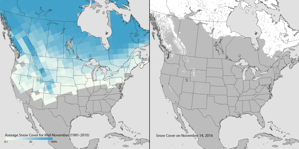 The US Just Set An AllTime Low For November Snow Cover - Snow cover map of us