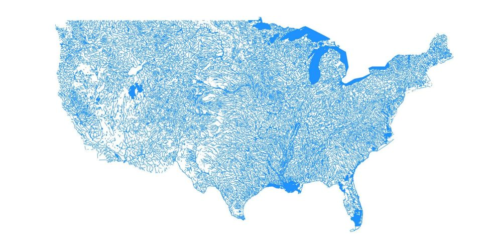Gorgeous Map Shows The United States As Only Bodies Of Water - Bodies of water in us map