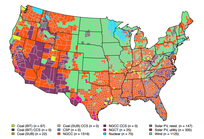 Heres The Cheapest Kind Of Power Plant To Build In Every US County - Solar power map us