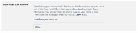 how to disable not delete facebook