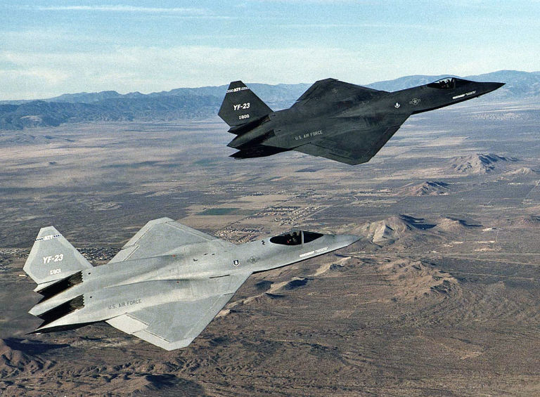 The two YF-23 demonstration aircraft.