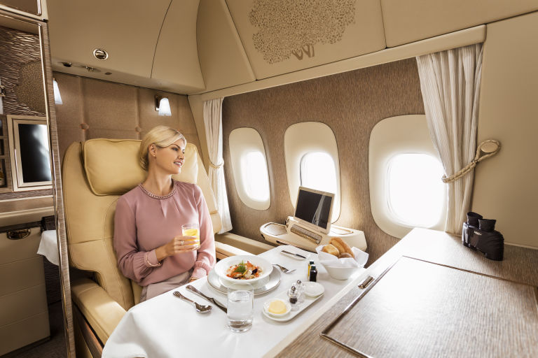 The dining experience inside an Emirates private suite. Presumably without jet lag.