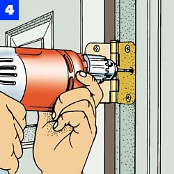 Select the proper-sized screwdriver to avoid stripping the slot in the screwhead then firmly tighten the screws in both the jamb and door.