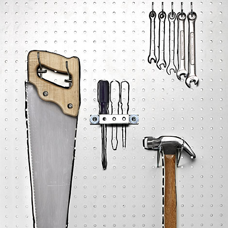 how to hang tools with pegbaord custom diy hanging rack. Black Bedroom Furniture Sets. Home Design Ideas