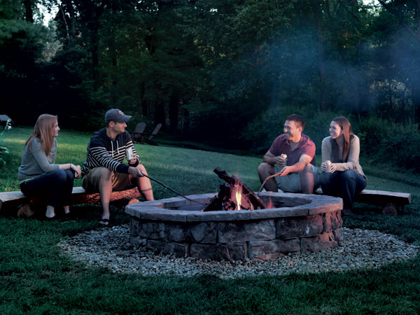 with this masonry fire pit plan you can skip the concrete and mortar instead use that time to build our rustic log benches youu0027ll be sitting around a