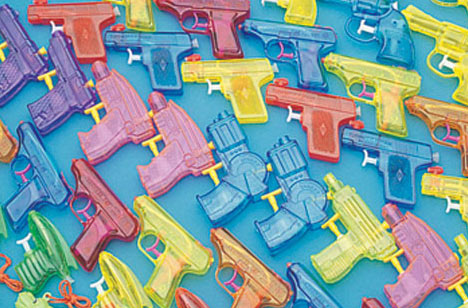 Drugs blue squirt guns
