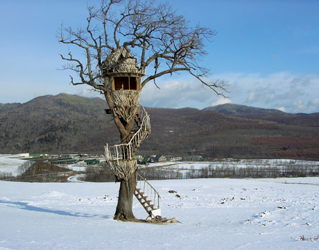 Another unique Taka creation is the Driftwood Egg Treehouse, which he created for a Nescafe commercial on the northern Japanese island of Hokkaido. The small perch was constructed from driftwood sourced from the region.