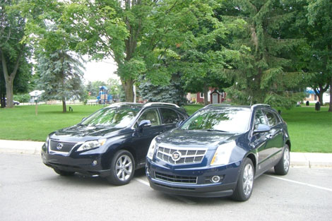 cadillac srx vs lexus rx350 comparison test can gm s best. Black Bedroom Furniture Sets. Home Design Ideas