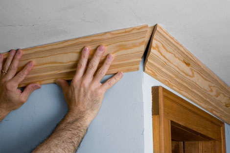 5  Cut through both pieces along the connecting line  Once you get the  boards to fit flush against each other on the corner  the saw is set to the  correct. Pro Tips For Installing Crown Molding   How to Cut Crown Molding
