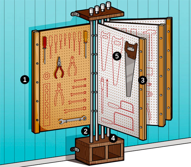 Diy tool rack hang your tools with the tool o dex for The new ultimate book of home plans pdf