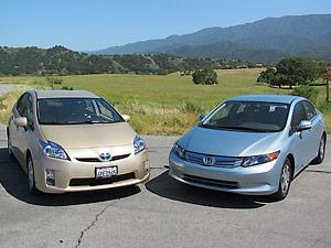 2012 Honda Civic Hybrid  2011 Toyota Prius