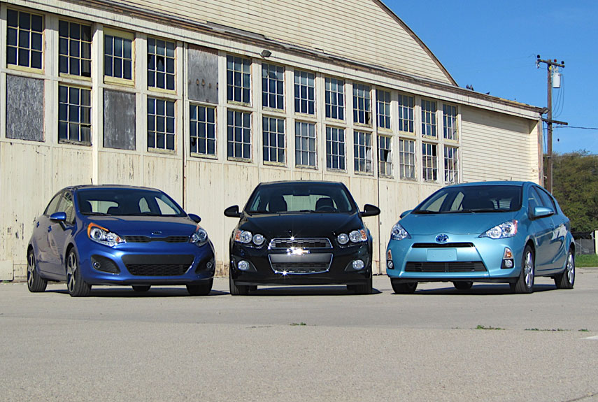 Subcompact Showdown Chevy Sonic vs Kia Rio vs Toyota Prius