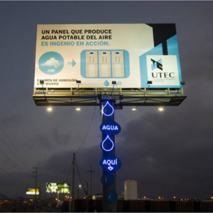 Atmospheric Water Generator billboard in Lima, Peru. Image source: Popular Mechanics