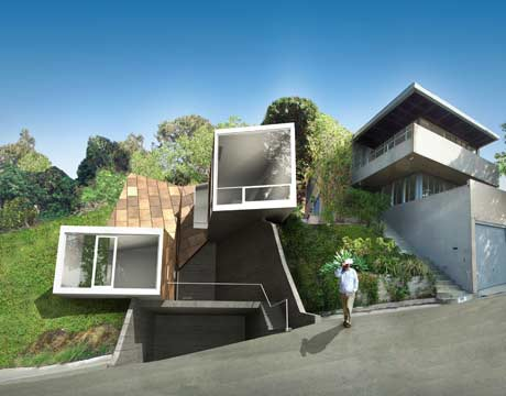 View Of The Vail Grant House A Highly Innovative Angular Prefabricated House