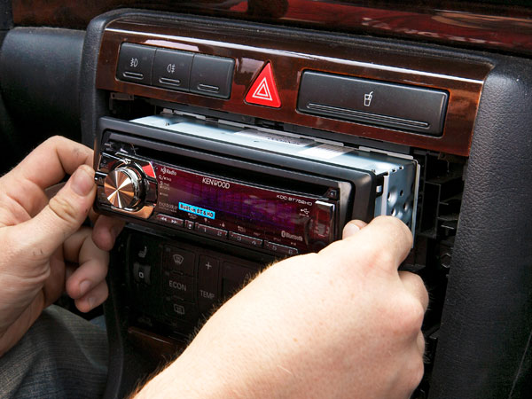 This picture shows the end step of the car stereo installation.