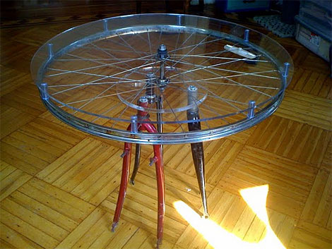 (13) Now Take It All Apart, Peel The Paper Backing Off The Plexiglass, And  Reassemble. There You Have It: Crappy Bike Parts Turned Into An Awesome  Table!