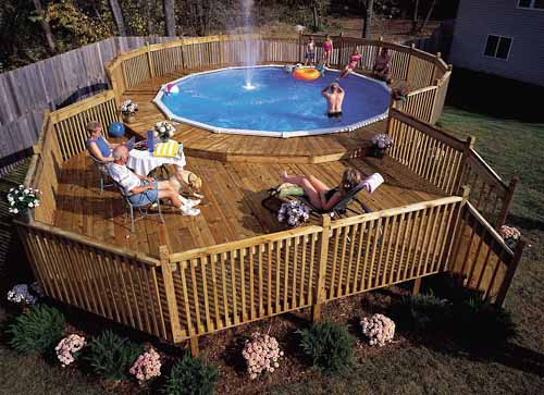 How to build a pool deck above ground pool deck plans - How to build an above ground swimming pool ...