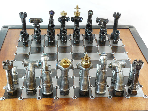 With a bit of rust remover to make them shine, you can transform your old fittings into a steampunk chess set. Source: 9 Bizarrely Beautiful DIY Chess Sets