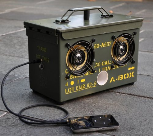 But if you want to hack one into something amazing, just add a couple speakers and some electronic hardware and you've got a portable boombox. Source: Armory Blog