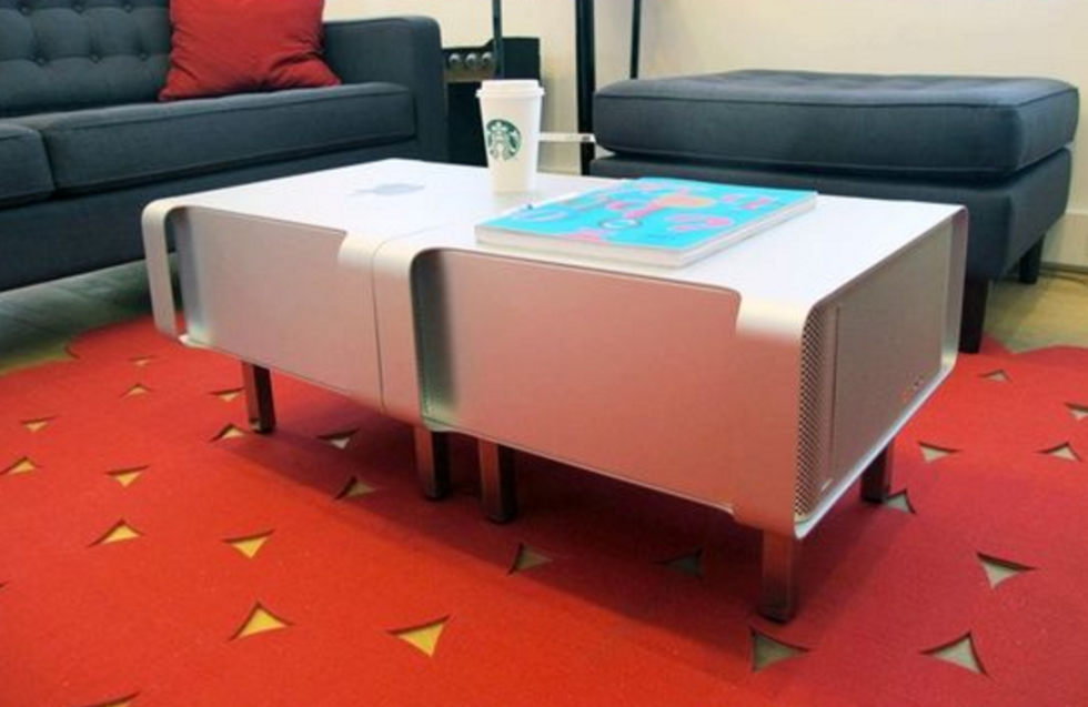 Connect a couple of Powermacs together and add legs for a geeky coffee table.