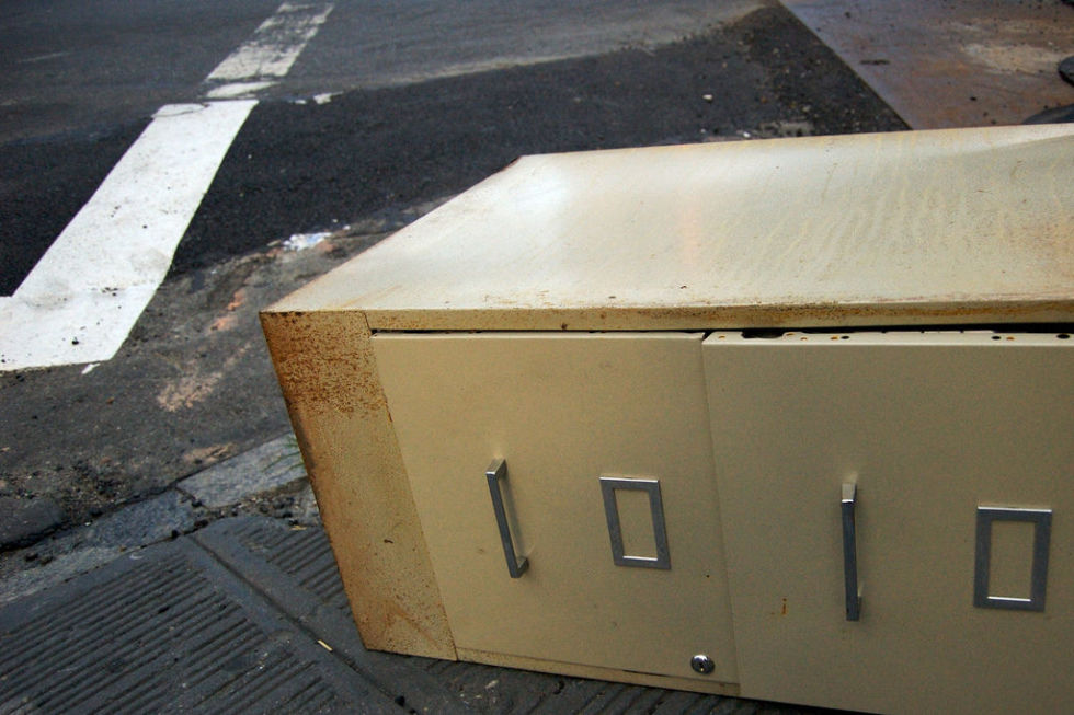 Steel office filing cabinets often last longer than the businesses they support.