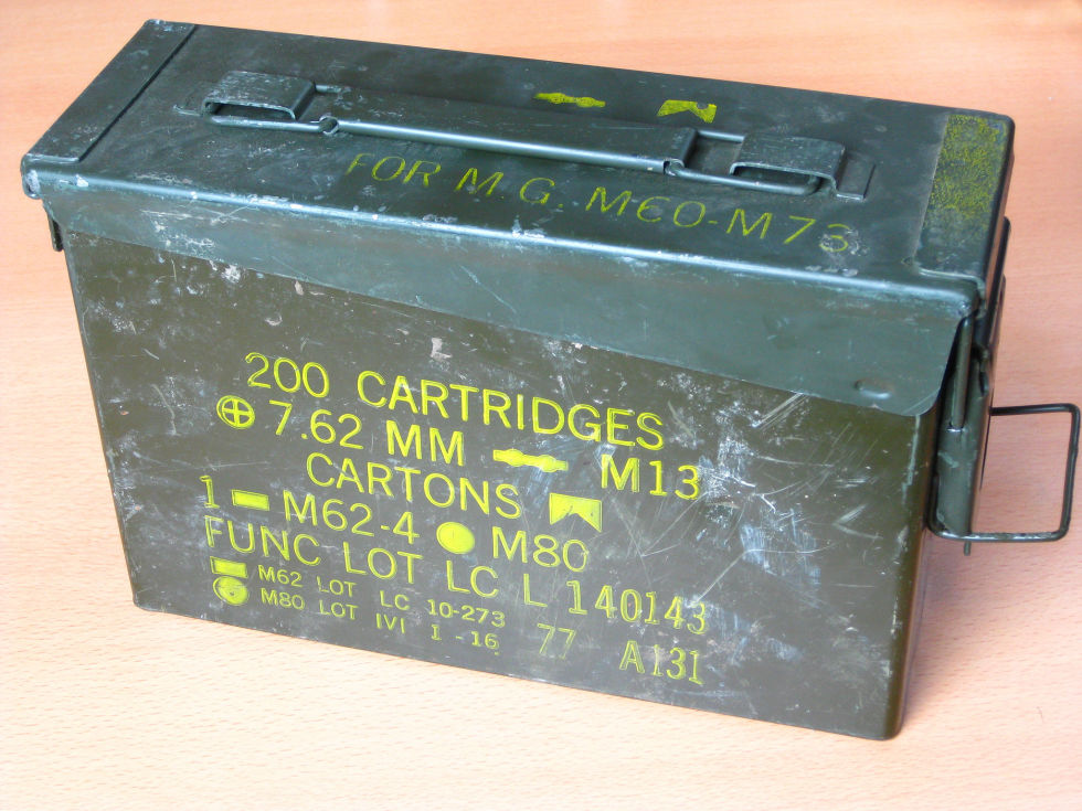 Ammo boxes are available at any Army-Navy Surplus store and make great storage bins as-is.