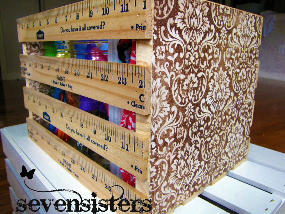 Yardsticks can be used to create simple crates for storing craft supplies and tools.  Source: Seven Sisters