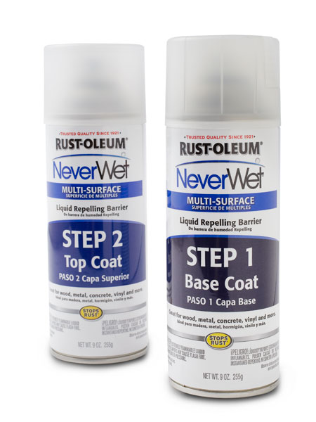 multi-surface liquid repelling barrier step 1 and 2 spray cans